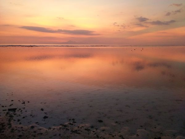 Sunset Reflection Water Beauty In Nature Outdoors Nature Beach Scenics Dramatic Sky Mycapture Of The Day Check This Out EyeEm Best Shots EyeEm Gallery Mycapture Creative Shots Sky Low Angle View Tranquil Scene Hello World Precious Memories Beautiful Nature EyeEm Nature Lover Traveling Gilitrawangan  Gili Islands