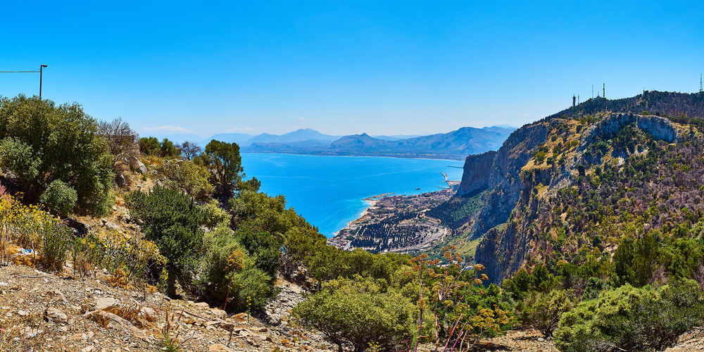 View from Mount Pellegrino Mount Pellegrino Palermo Panorama Sicily Beauty In Nature Blue Clear Sky Day Italy Landscape Mountain Mountain Range Nature No People Outdoors Plant Scenics Sea Sky Tranquil Scene Tranquility Tree Water