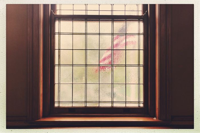 Old Glory. Natural Light Daylight Stars And Stripes Flag Window No People Glass - Material Architecture Indoors  Day Window Frame The Architect - 2018 EyeEm Awards