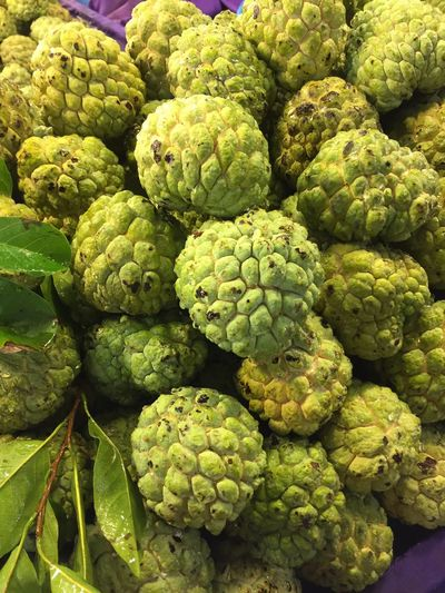 High Angle View Of Custard Apples Heap At Market Stall