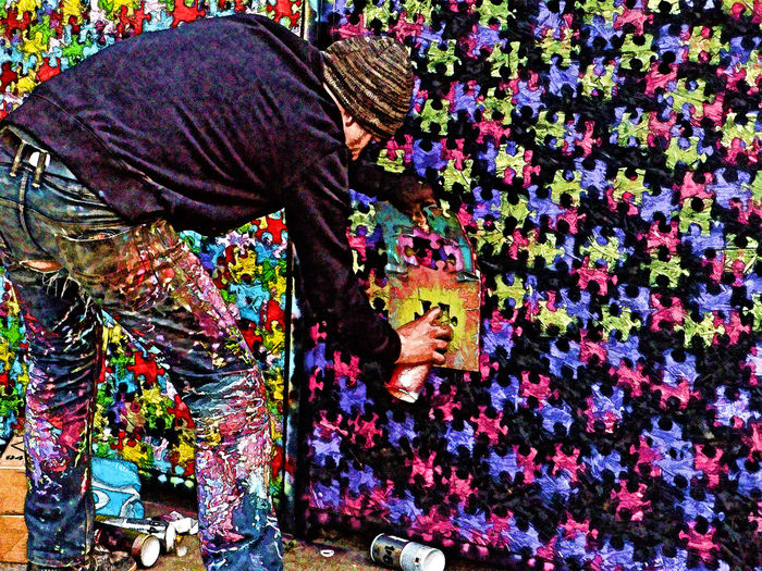 Multi Colored Clothing Outdoors Amsterdam Painting Street Art Person Decoration Variation Building Exterior Brick Wall