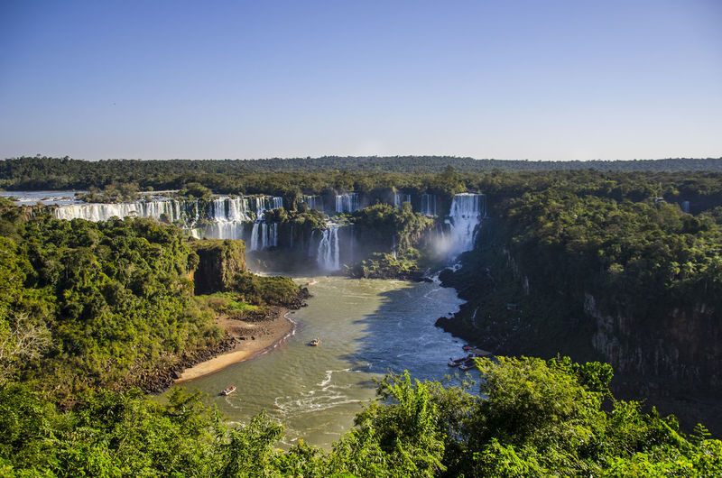 Beauty In Nature Clear Sky Day Fall Iguazu Falls Landscape Motion Nature No People Non-urban Scene Outdoors Plant Power In Nature River Scenics - Nature Sky Tranquil Scene Tranquility Tree Water