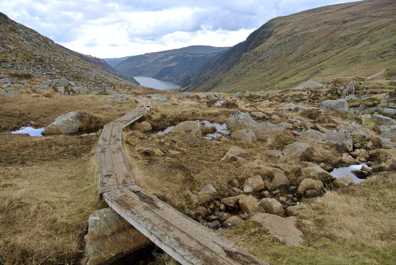 A Boardwalk at the head of the Glendalough valley makes the route accessible to tourists in all seasons and reduces wear and tear on the Environment. Walking Route Conservation Open Country