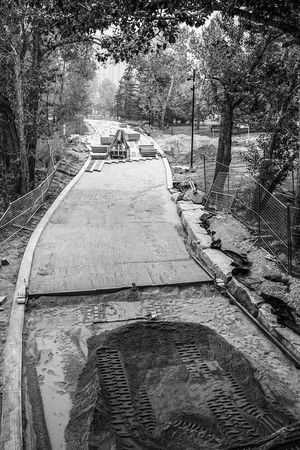 follow the yellow brick road Stones Pathway New Construction Foundation Blackandwhite Monochrome Tree Road Street Close-up Sky Empty Road