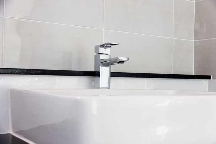 Close-up of sink in bathroom