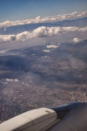 Aerial view of clouds seen from airplane