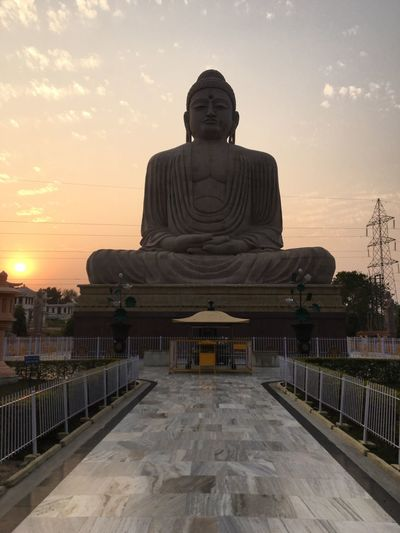 90 feet Buddha Sky Sunset Architecture Religion Belief Spirituality Art And Craft Ancient Civilization History Travel Destinations Male Likeness Human Representation No People Representation Built Structure Cloud - Sky Sculpture Nature Statue Outdoors