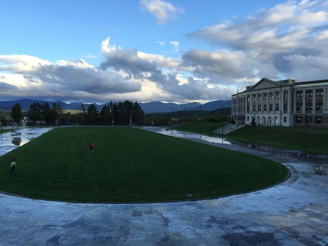 Lake Placid Field Adirondack Mountains Mountain View Track School Football Field Sky Clouds