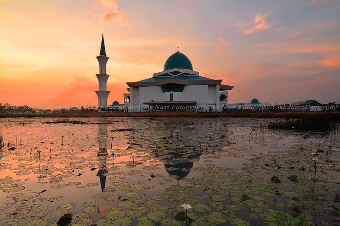 UTHM MOSQUE DURING SUNRISE Built Structure Sunset Religion Architecture Spirituality Sky Place Of Worship Building Exterior Water Reflection Cloud - Sky No People Nature Outdoors Beauty In Nature City Day