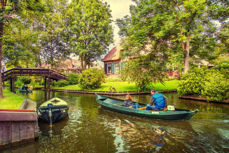 Boat Canal Chilling Day Giethoorn Green Color Holland Nature Nederland Reflection Scenics Tourism Tourist Attraction  Traveling Tree Village Water