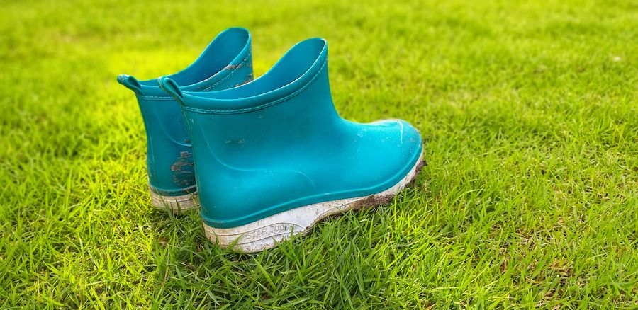 The view of the mud boots. Absence Blue Boot Close-up Day Field Grass Green Color Growth High Angle View Land Nature No People Outdoors Pair Plant Rubber Boot Shoe Single Object
