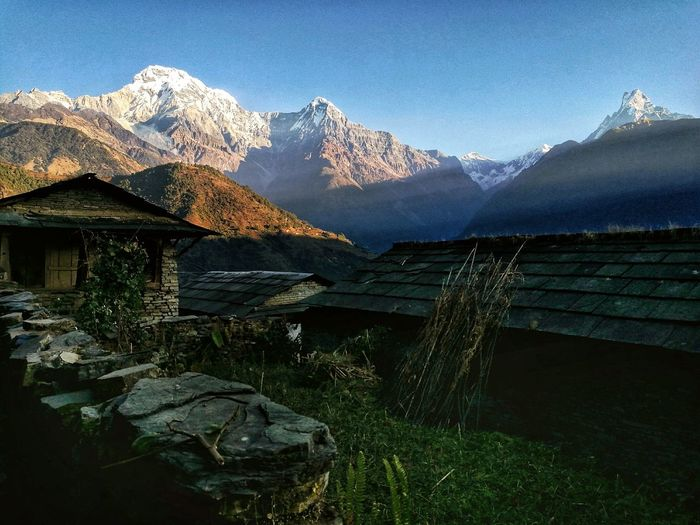 Annapurna Range Mountain Blue Mountain Peak Scenics Mountain Range No People Landscape Nature Outdoors Day Snow Travel Photography Huawei Smartphones Huawei EyeEm Nepal Travel Colors Annapurna Village View Travel Destinations Rays Of Sunlight Rays Of Sunshine Finding New Frontiers