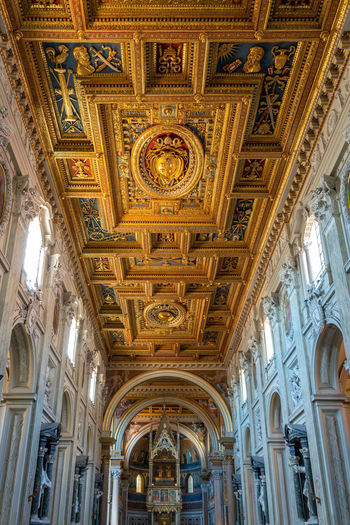 Ceiling Architecture Indoors  Built Structure Architectural Column Low Angle View Place Of Worship Religion Arch Belief No People Building Spirituality Ornate The Past History Lighting Equipment Architecture And Art Mural Fresco Luxury Altar