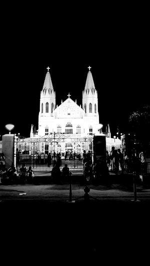 church Blackandwhite Church God Spiritual Place Night Outdoors Architecture