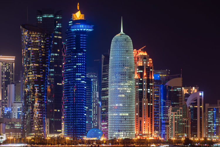 Doha, Qatar Building Exterior Architecture Built Structure City Office Building Exterior Illuminated Night Building Skyscraper Tall - High Modern Tower Office Travel Destinations No People Cityscape Travel Downtown District Residential District Financial District  Outdoors Spire  Doha Qatar Middle East