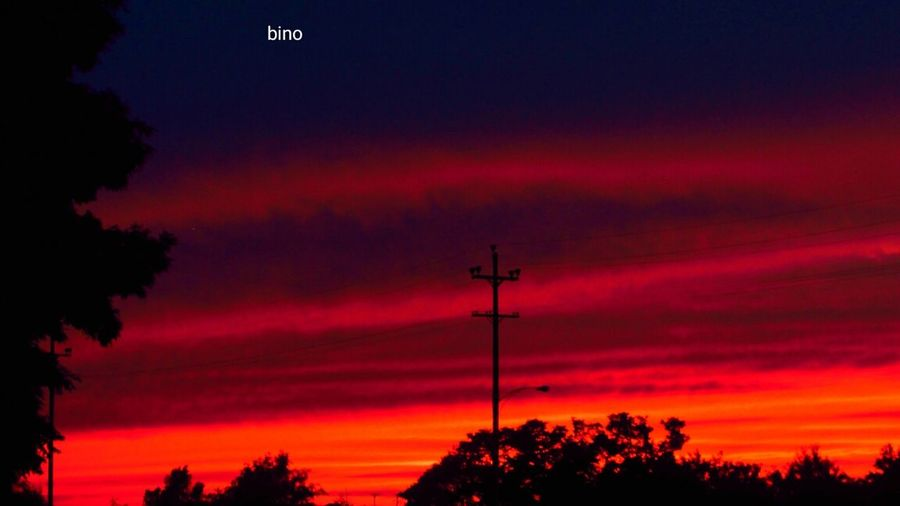Last Night's My Neighborhood Sunset_collection Power Lines Silhouette Red Color Cadillac Michigan