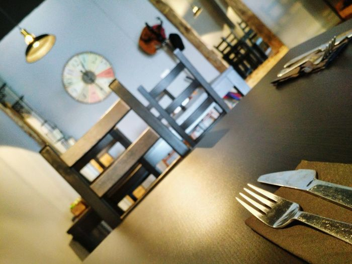 Dinner? Indoors  No People Time Clock Day Focus On Foreground Dinner Lunch Lunch Break Lunchtime Lunch Time Taste Food Food And Drink Dinning Dinner Restaurant Rustic Rustic Style Knife Fork Cuttlery Table