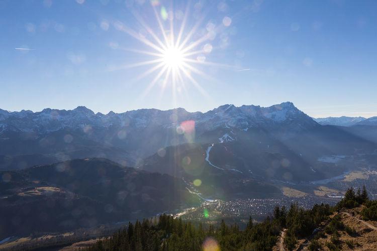 Bavarian Landscape Garmisch Partenkirchen Wettersteingebirge Winter Zugspitze Bavarian Alps Beauty In Nature Day Garmisch-partenkirchen Landscape Lens Flare Mountain Mountain Range Nature No People Outdoors Scenics Sky Sun Sunbeam Sunlight Tranquil Scene Tranquility Tree