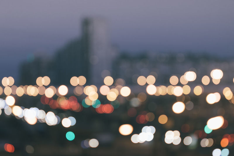 Defocused lights in city at night