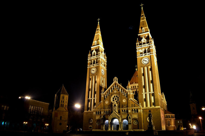 Szeged Dome City Illuminated Place Of Worship Cityscape Religion Architecture Sky Building Exterior Clock Tower Bell Tower - Tower Historic Tower Tall - High