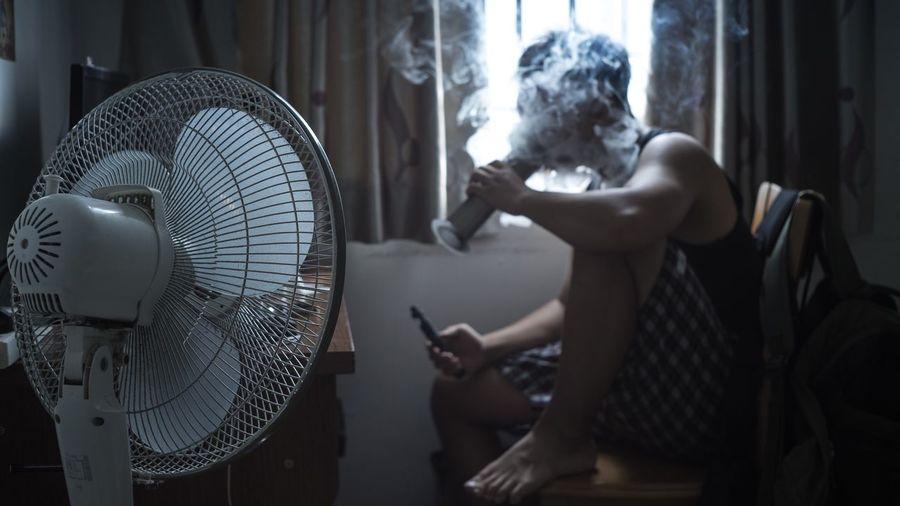 View Of A Man Smoking