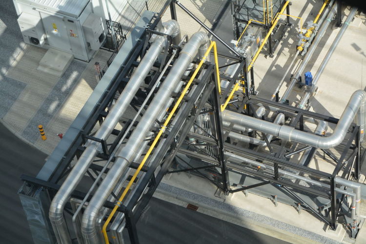 High Angle View Of Pipelines In Industry