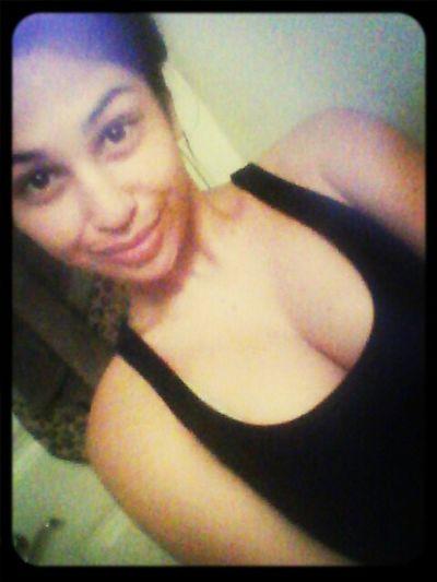 Hair up, wearing black shirt #DatzJustMe(: