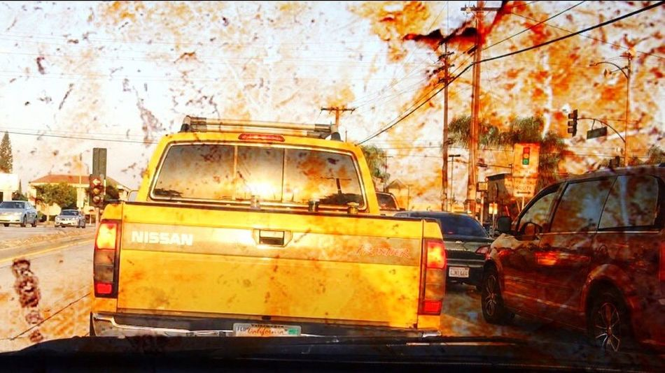 The Drive Windshield Windshield Shots Windshield Wipers Driving Driving Around Mess Orange Yellow Truck Vandalism FoodFight City Outdoors No People Day That's Just Great.. Jeepers Creepers Carwash