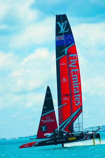 Americas Cup Fly Emirates Professional Sport Water Sky Cloud - Sky Red Day Nautical Vessel Outdoors Transportation Sea Low Angle View No People Architecture Nature