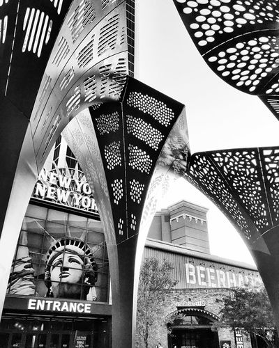 Monochrome Photography Low Angle View Architecture Built Structure No People City Day VEGAS🎲 Travel Destinations New York New York Casino The Park Las Vegas Blvd
