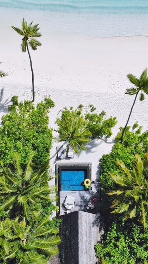 Aerial view of swimming pool at sea
