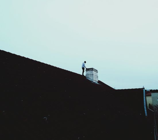 Outdoors Sky Rooftop Houses Old Buildings Abandoned Guy Man