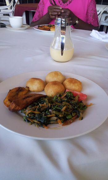 Plantain, callaloo, and saltfishJamaican Food  Jamaica Hot Day Golden Shores Hotel