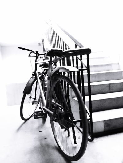 City Life Cycling Still Life Portrait Nostalgia Eternity Life Wheels Tied To Stairs Blackandwhite Black And White Exposure Metro Portraits Light Light And Shadow Showcase March ShotOniPhone6 IPhoneography IPhone 6s
