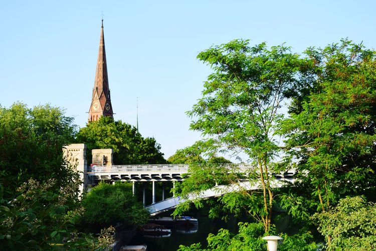 Nature Beauty In Nature Sunlight Sunshine ☀ Day Outdoors Clear Sky Focus On Foreground Water Bridge - Man Made Structure Tree City Architecture Sky Place Of Worship Religion Church Arch Bridge