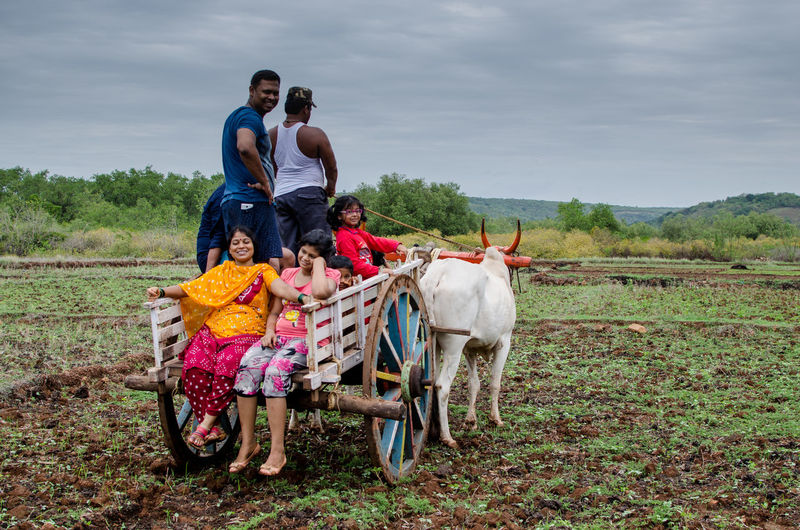 People On Ox Cart Against Sky