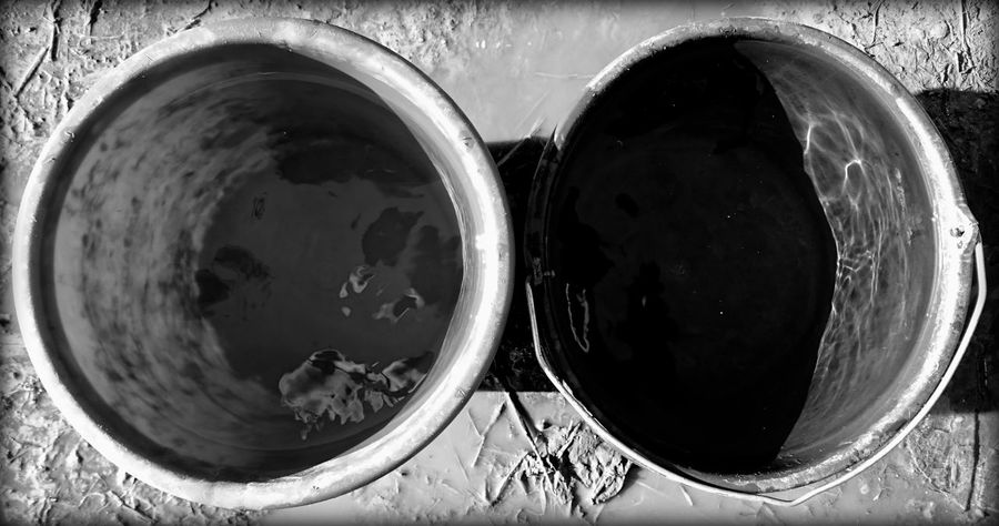 Black & White Black And White Blackandwhite Bucket Buckets Circle Container Directly Above Geomatric Shapes Geometric Shape No People Reflection Round Still Life Two Two Of A Kind Water Water Reflections Learn & Shoot: Balancing Elements The OO Mission Black And White Friday