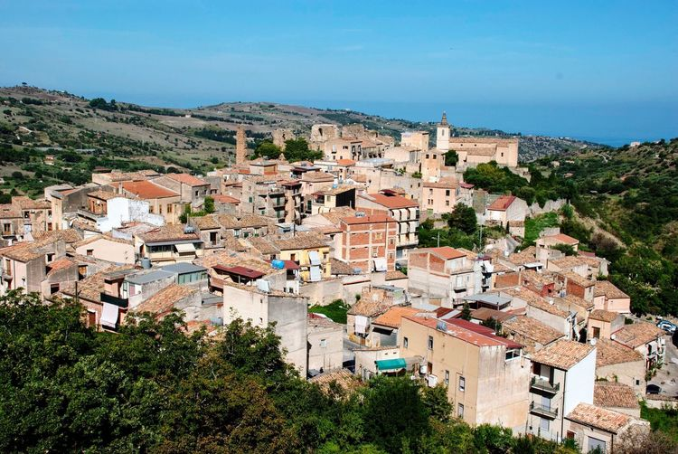 Houses Collesano Italian Italy Sicilia Sicily Landscape Building Exterior Architecture Built Structure City Building Plant Tree High Angle View No People Outdoors Town TOWNSCAPE Settlement Residential District Day Sky