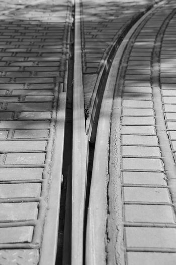 High Angle View Of Tramway Tracks On Street