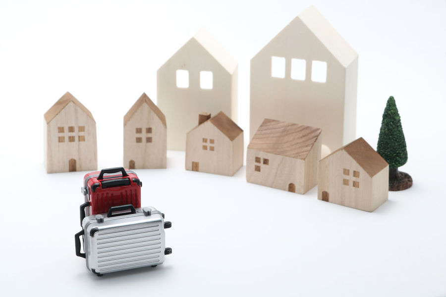Home Innocence RENT Travel Trip Vacations Accommodation Bag Baggage Baggage Claim Carry Bag Carry Case Guest House Hotel House Leisure Activity Luggage Miniature No People Stay Studio Shot Suitcase Toy Travel Bag White Background