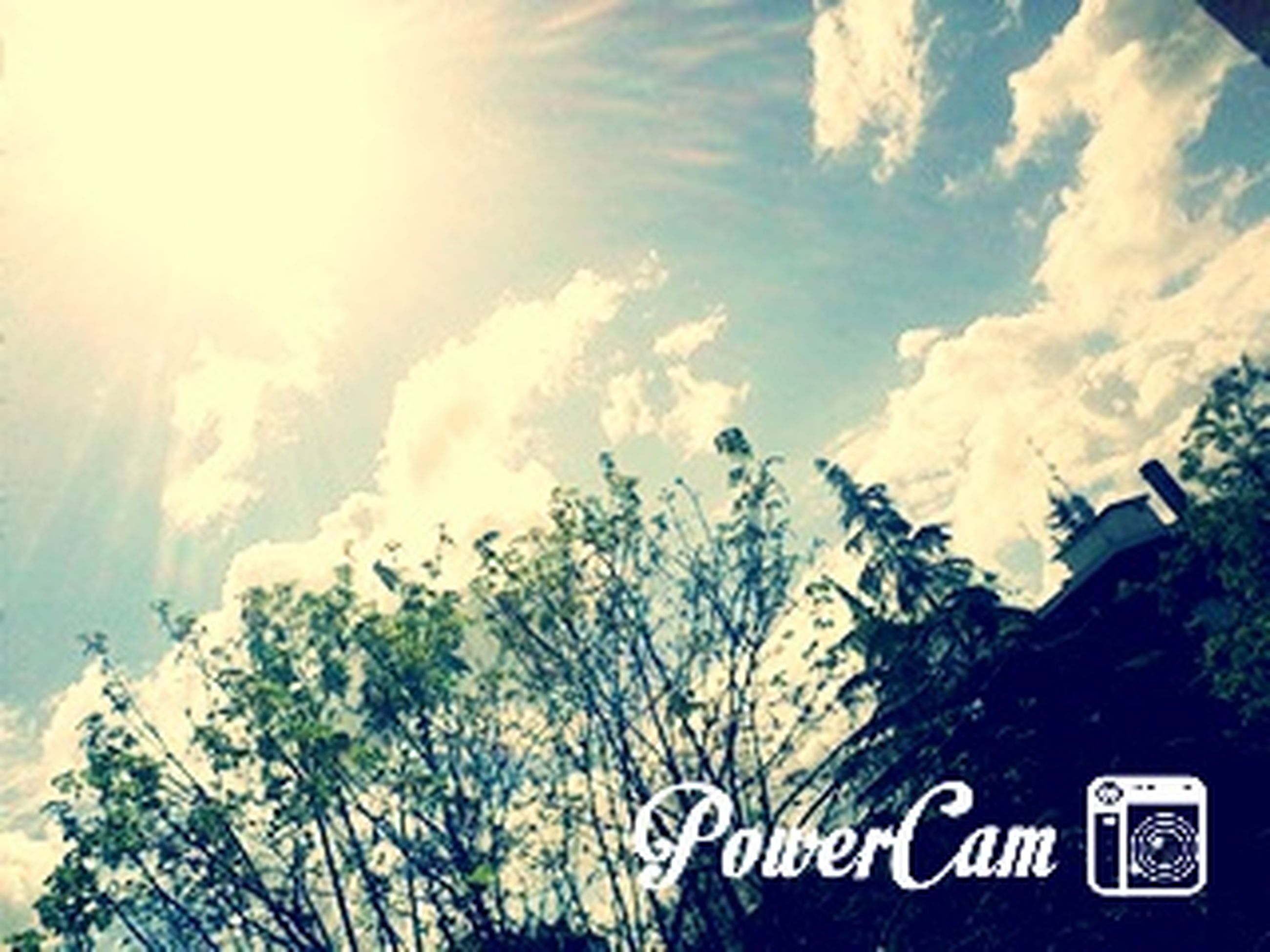 sky, mountain, tranquility, scenics, tree, beauty in nature, text, tranquil scene, nature, sunlight, cloud - sky, low angle view, western script, communication, day, cloud, no people, blue, outdoors, sunbeam