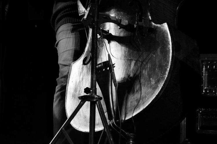Midsection Of Musician Playing Double Bass In Concert