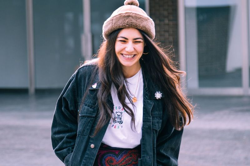 EyeEmNewHere EyeEm Best Shots Streetphotography Lifestyles Outdoors Jacket Day Casual Clothing Young Women Young Adult Beautiful Woman Smiling Portrait Happiness Close-up #urbanana: The Urban Playground