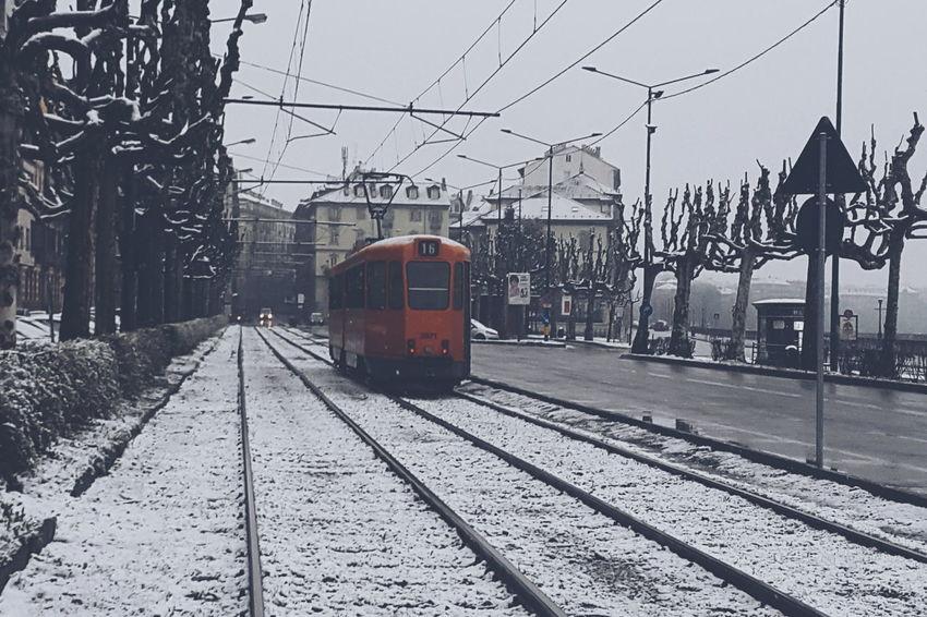 Tramway under the snow in Turin Torino Mirkomacaritorino Railway Urban Snow Italy