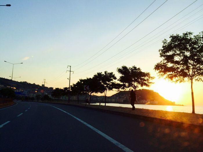 Sunset Sea Alone City