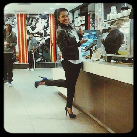 me wif Street Fashion at Mac Donald wif my HighHeels