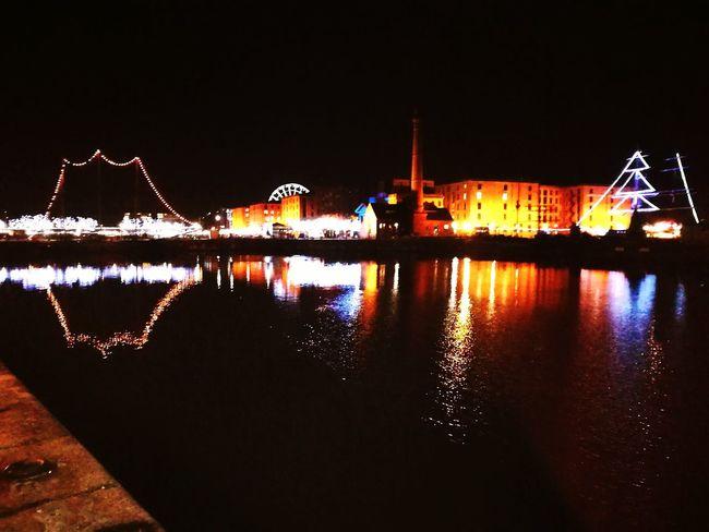 Reflection Night Sky City Water River Outdoors Waterfront Liverpool Albert Docks Merseyside
