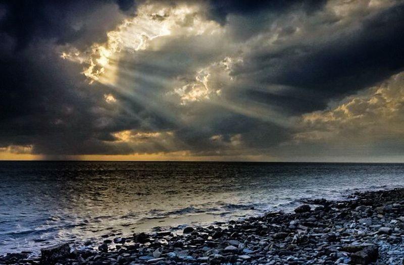 Sea dramatoc sky beach