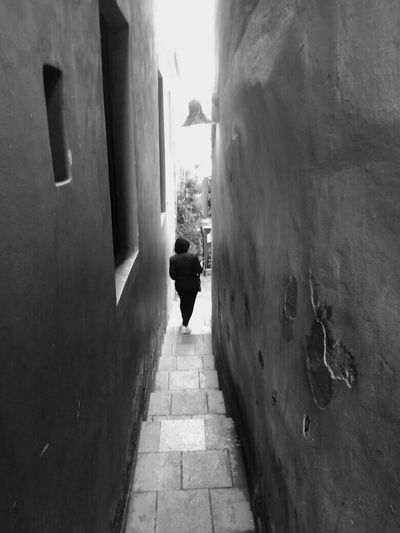 Prague Built Structure One Person Walking City Outdoors Full Length Alley Black & White Certovka