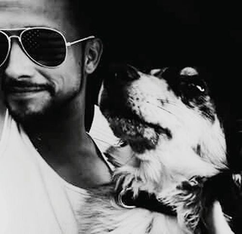 This picture is of myself and a friend of mine :) Blackandwhite Black & White Blackandwhite Photography Blackandwhitephotography Black And White Portrait Black & White Photography Blacknwhite Animal Themes Dog Dogs Mananddog Mansbestfriend Selfietime Selfmade Self-portrait Selfıe First Eyeem Photo